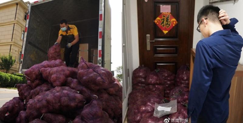 ▲大陸濟南一位女子不甘被分手,送了一公噸的洋蔥給前男友另類復仇。(圖/翻攝自微博)