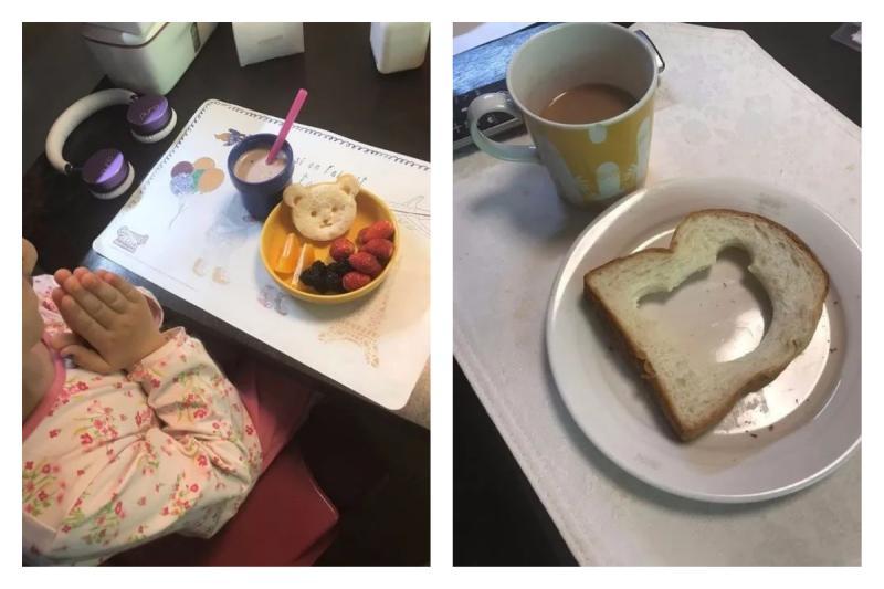▲有位媽媽分享了自己給女兒和老公準備的早餐,殘酷對比讓網友全笑翻。(圖/翻攝自爆廢公社)