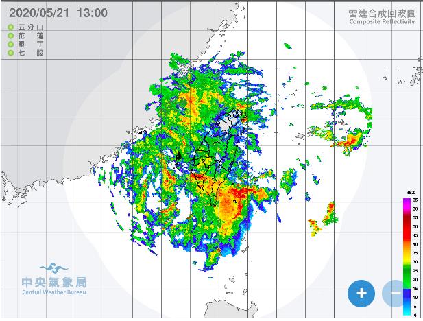 ▲中央氣象局提醒,今天下午至週五整天,都將是降雨最劇烈的時刻。(圖/翻攝自中央氣象局)