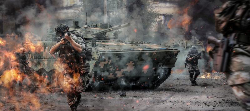 ▲四川美術學院學生製作一系列解放軍奪島的形象圖。(圖/翻攝自台海軍情員臉書)