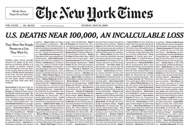 美國新冠肺炎10萬死!<b>紐時</b>頭版刊密麻名單:他們曾是我們