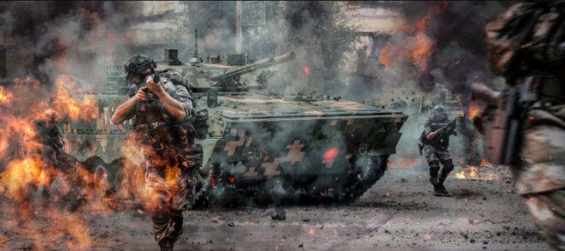 ▲「奪島圖」內容包括解放軍在台灣巷道展開槍戰等。(圖/翻攝自微博)