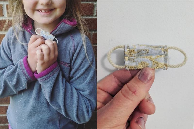 小女孩擔心「牙仙子」被傳染病毒!媽手縫超迷你口罩萌翻