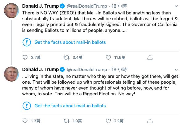 ▲川普評論「郵寄投票」的推文被平台標注。(圖/翻攝自推特)
