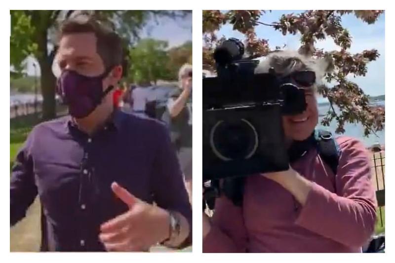 ▲美國一位記者在現場連線時憂心指出,現場的民眾幾乎都未戴口罩,結果遭到路人反嗆,「你的攝影師也沒戴」。(圖/翻攝自推特)