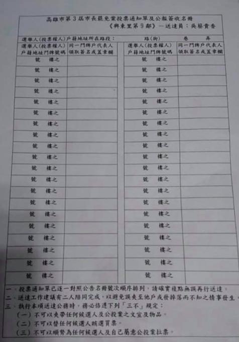 ▲莊晉勳表示,該鄰長要求里民填寫住址並簽名才能領取,變相強制里民亮票(圖/翻攝自莊晉勳臉書)