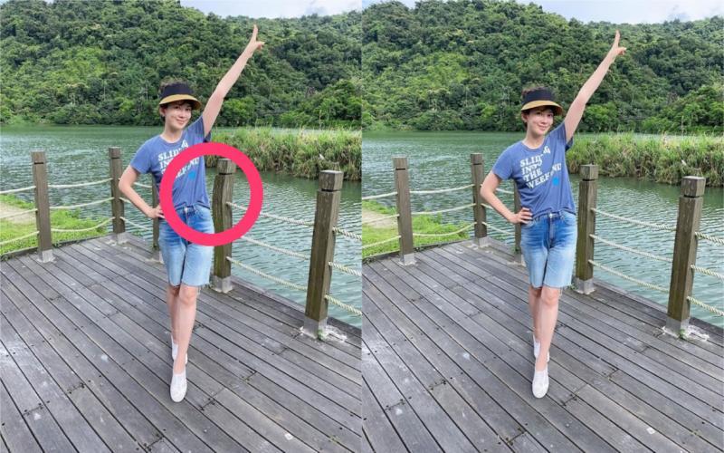 ▲Melody被抓包柱子歪掉之後重新發出照片(左圖為修圖前,右圖為後)。(圖/Melody臉書)