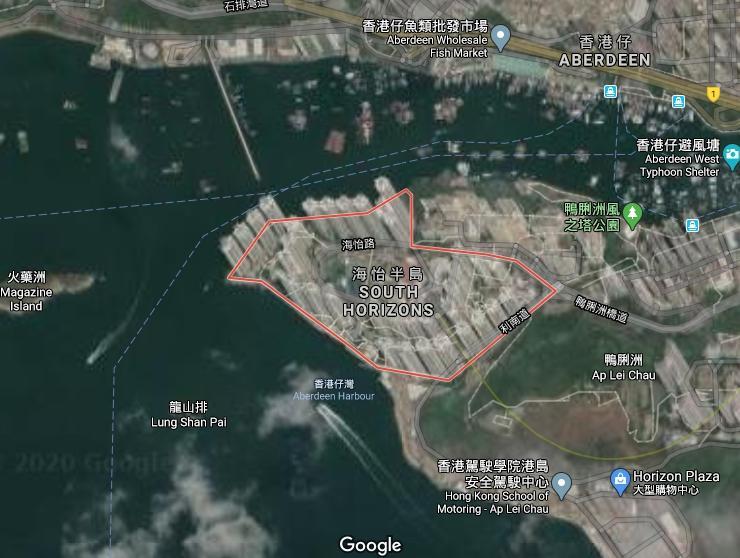 ▲海怡半島屬鴨脷洲,位於香港南端。(圖/翻攝Google