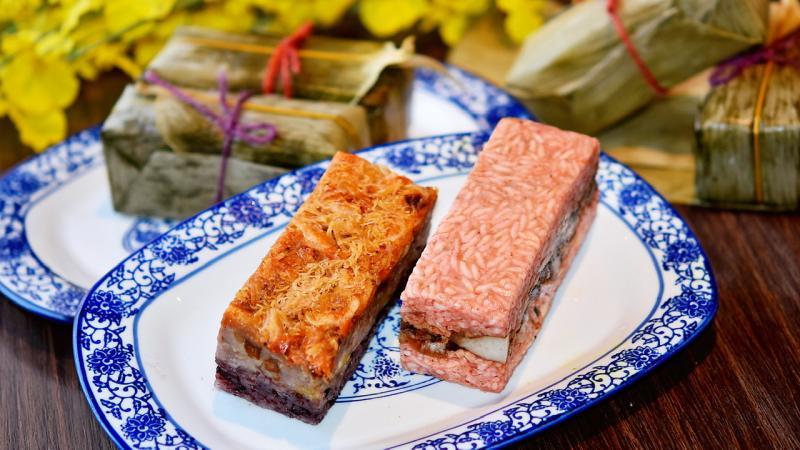 ▲翰品酒店推出紅麴風味赤肉粽、貝鬆櫻花蝦香芋粽等南部傳統好味道。(圖/高雄翰品酒店提供)