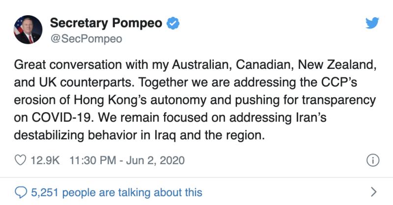 ▲美國國務卿蓬佩奧在推特透露與英國、澳洲、加拿大及紐西蘭外長進行了良好對話。(圖/翻攝自蓬佩奧推特)