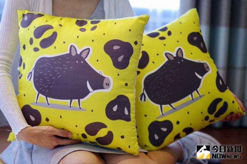 ▲房間內的山豬圖案抱枕,相當受到旅客歡迎。(圖/記者陳致宇攝)