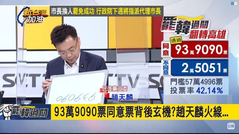 ▲民進黨高雄黨部立委趙天麟指出,罷韓同意票數藏有玄機。(圖/翻攝新台灣加油