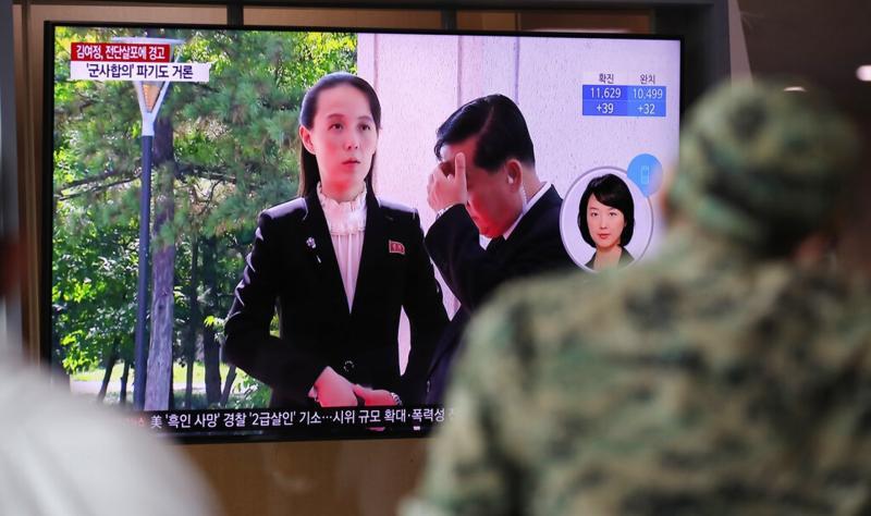 ▲韓國首爾火車站內的電視牆,正在播放朝鮮相關的新聞。(圖/美聯社/達志影像)