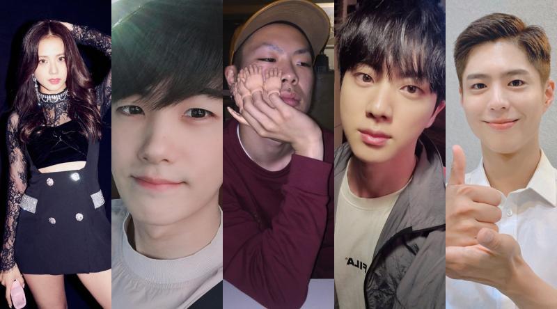 ▲JISOO(左起)朴炯植、吳赫、JIN、朴寶劍登曾拒絕「SM娛樂」面試。(圖/藝人IG)