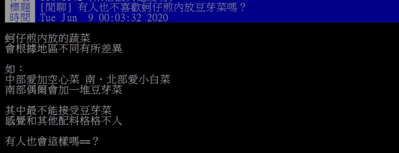 ▲網友指出,自己無法接受蚵仔煎放入豆芽菜。(圖/翻攝