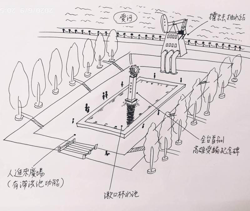 ▲網友分享「韓國瑜紀念園區」草稿。(圖/翻攝自