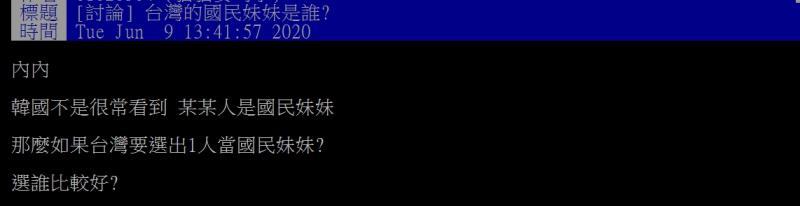 ▲網友提問,台灣國民妹妹是誰呢?(圖/翻攝