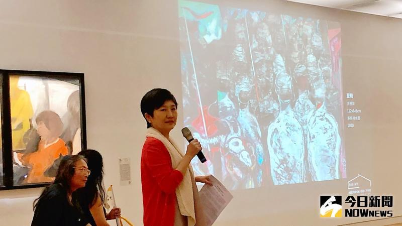 ▲線上平台公開了藝術家洪根深的〈聖戰〉等作品。(圖/記者陳美嘉攝)