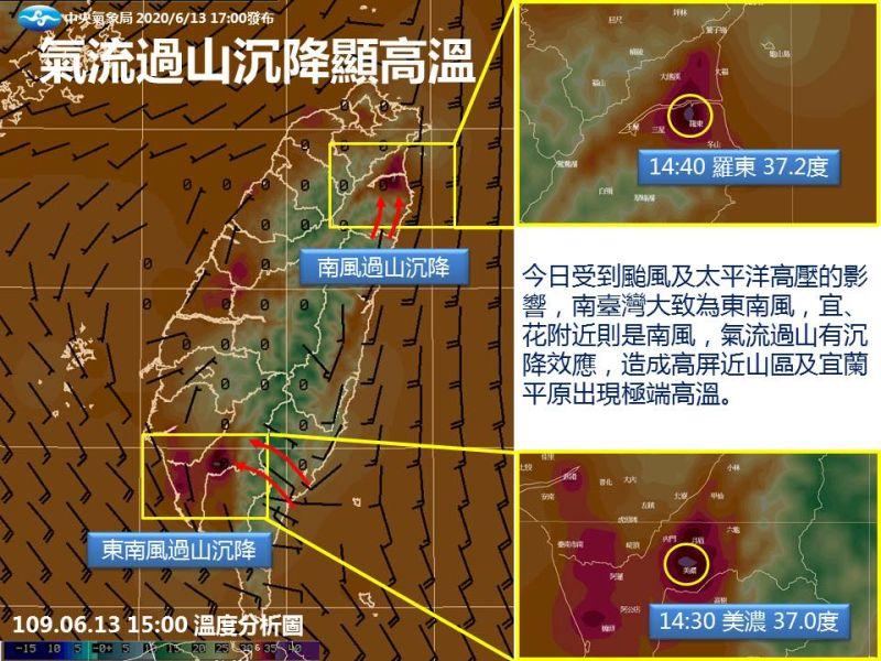 ▲氣象局解釋天氣酷熱的原因。(圖/翻攝自報天氣-中央氣象局臉書)