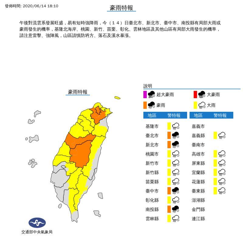 氣象局針對雙北中投發布豪雨<b>特報</b>