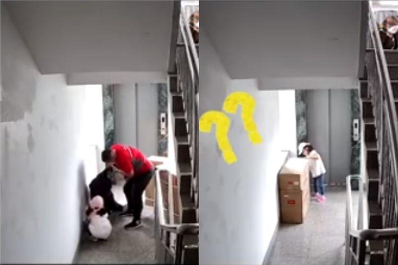 ▲郭彪(左圖紅衣男)看到有人昏倒馬上放下冷氣出手幫忙,而小女孩聽到顧客打電話質問遲到,馬上寫了張紙條跑出來貼在紙箱上。(合成圖/翻攝半島晨報微博)