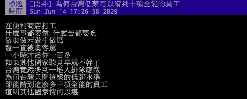 ▲網友討論超商店員低薪一事。(圖/翻攝PTT)