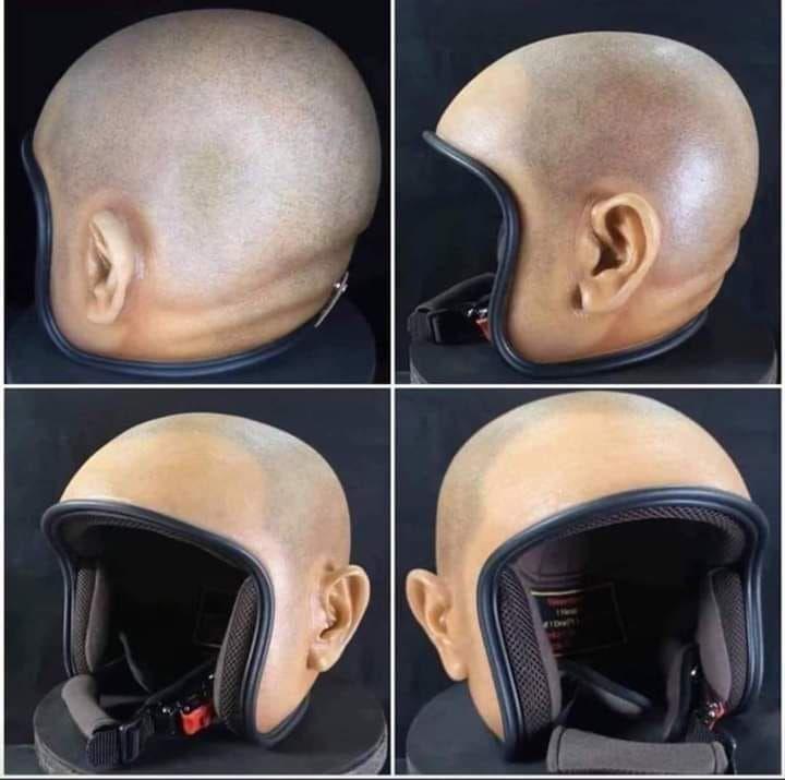▲光頭造型安全帽。(圖/翻攝自爆廢公設二館)