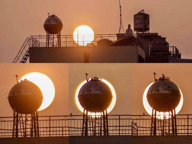 ▲網友運用水塔借位遮住太陽,笑稱「天天都能看日環食」。(圖/翻攝嘉義人大小事)