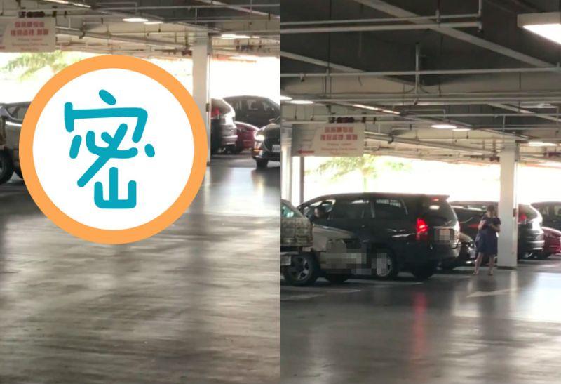 ▲網友逛好市多看到有人佔停車位的方法很奇特。(圖/翻攝爆怨公社)