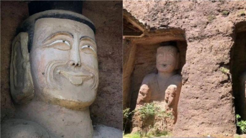 ▲該地文化站長表示,這和石像原貌相差無幾。(圖/翻攝自微博)