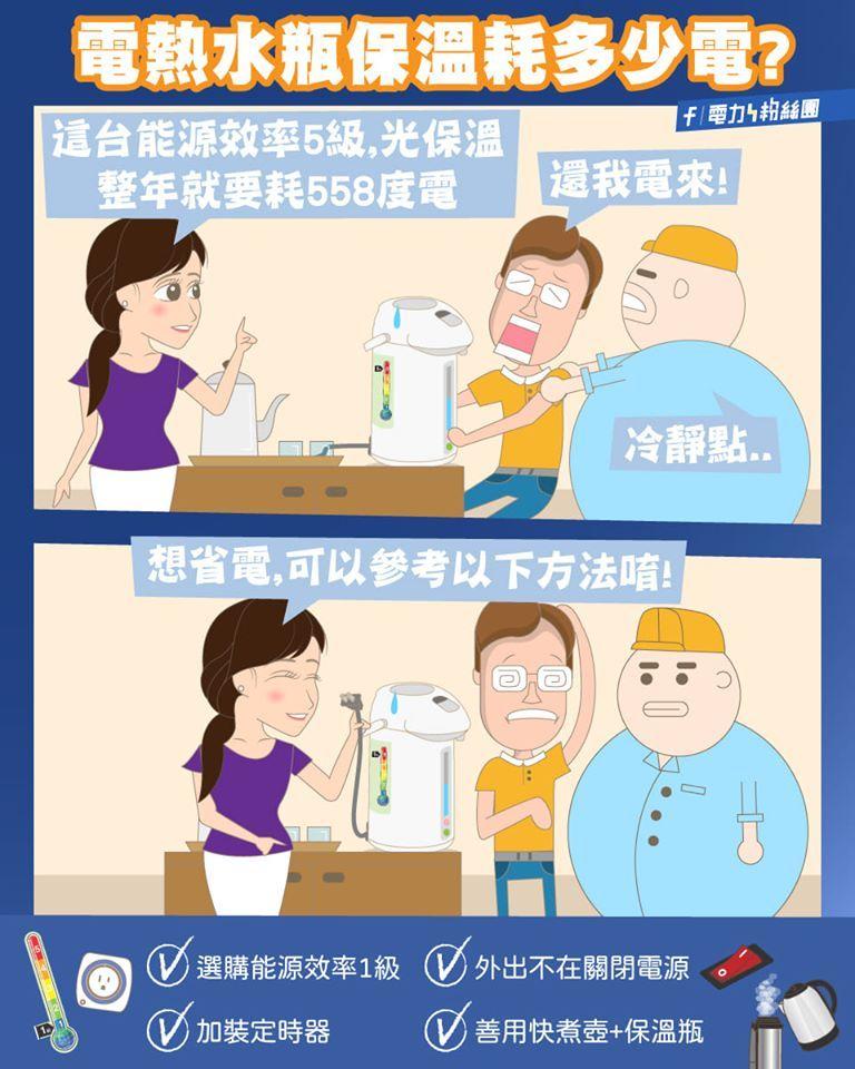▲台電曝家中的電熱水壺其實是「吃電怪獸」。(圖/取自台電臉書粉專)