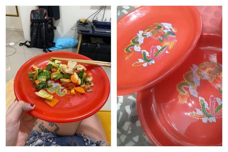 ▲網友分享自己美國朋友最愛用這款「台灣特色」碟子盛食物,但其實這在台灣是拜神明用的,讓她好尷尬。(圖/翻攝自爆怨公社)
