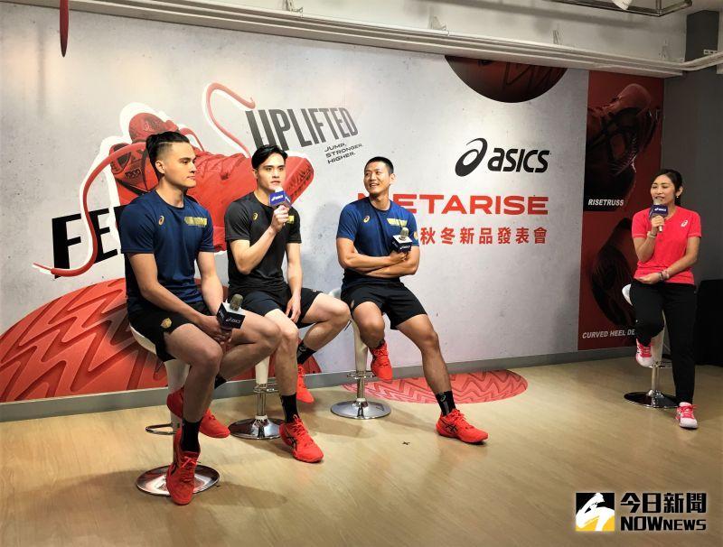 ▲知名運動品牌亞瑟士ASICS特別邀請旗下排球選手「電眼雙胞胎」劉鴻敏、劉鴻杰和「黑狗」陳建禎出席「2020