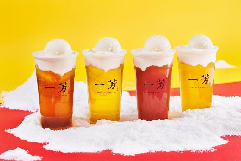 ▲知名手搖飲品牌一芳水果茶首度推出「小美雪凍冰淇淋系列」飲品。(圖/業者提供)