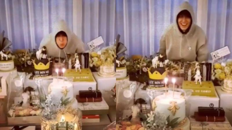 ▲李敏鎬在影片附註:「明年要吹熄那根蠟燭。」(圖/李敏鎬IG)