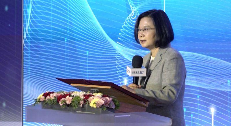 ▲總統蔡英文在典禮上致詞表示,台灣今日走向5G商用階段的里程碑,也跟著美、日、韓等國一同走入5G時代。(圖/記者葉政勳攝)