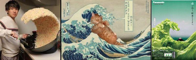▲《神奈川沖浪裏》熟為人知,曾被許多網友或品牌二次創作。(圖/翻攝自網路)