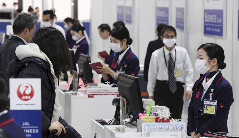 ▲日本成田空港,日本航空櫃檯。(圖/美聯社/達志影像)
