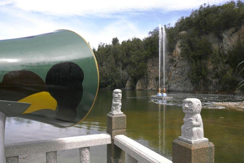 全國首創互動式噴泉 金門「<b>喊泉</b>」設施今天啟用