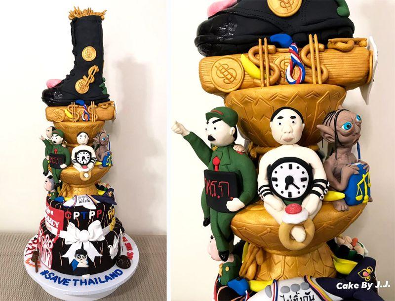 泰國蛋糕師手作五層蛋糕 層層含政治諷喻泰網友秒懂