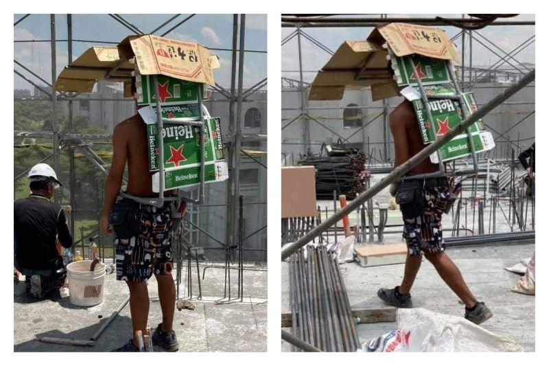 ▲工人自製防曬神器,趣味創意讓網友笑翻。(圖/翻攝自爆廢公社公開版臉書)
