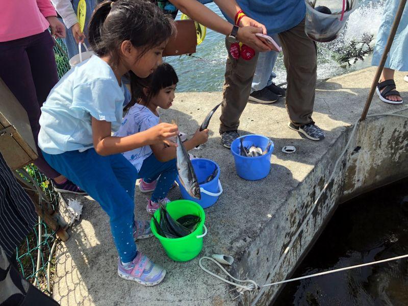 ▲活動內容安排認識龍膽石斑,小朋友親自在養殖場放魚。(圖/屏東縣政府提供