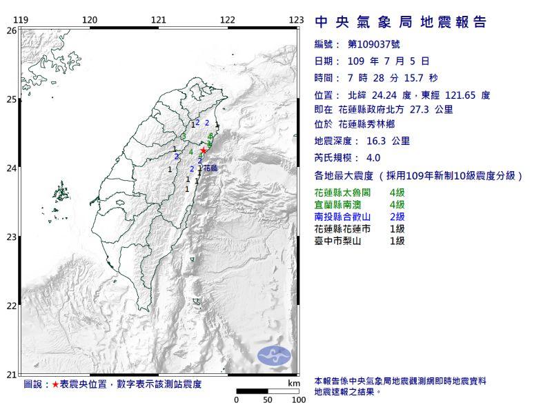▲今( 5 )天早上 7 點 28 分花蓮發生芮氏規模 4.0 地震。(圖/翻攝自中央氣象局)