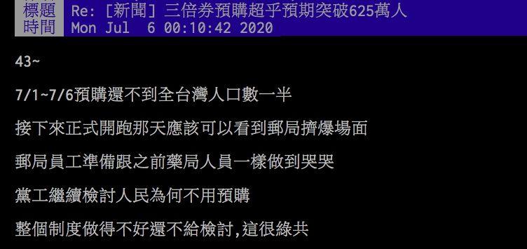 ▲網友討論三倍券預購問題。(圖/翻攝PTT)