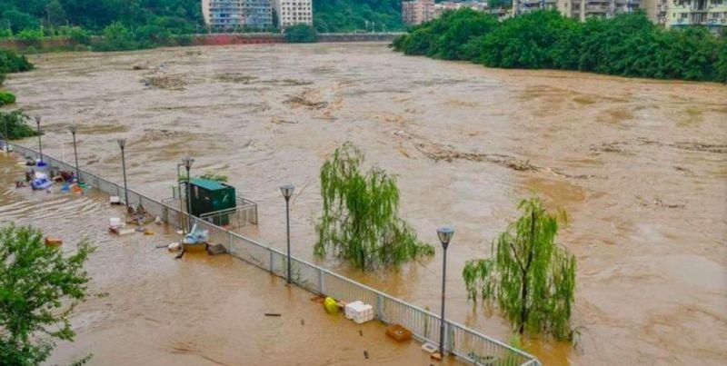 ▲中國近日洪水問題嚴重。(圖/翻攝人民日報推特)
