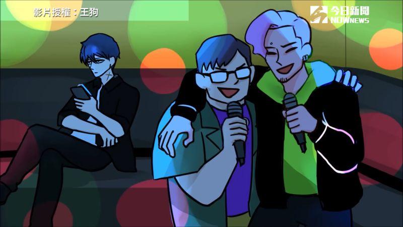▲ouTube頻道「王狗」團隊中的「乙醚」一行三人臨時起意,決定到KTV唱歌(圖/王狗 授權)