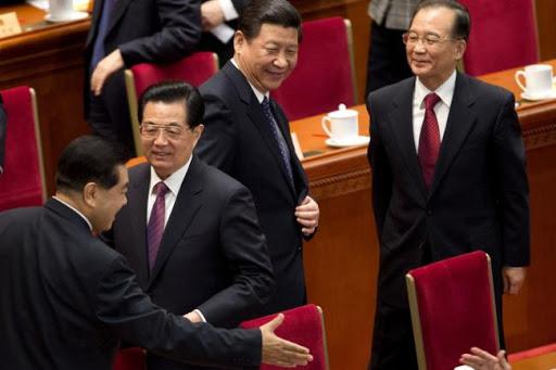 ▲2017年10月18日至24日,中國共產黨第十九次全國代表大會(十九大)。胡錦濤、習近平、溫家寶。(圖/翻攝自微博)