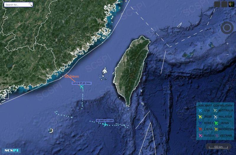 ▲南海戰略態勢感知計劃」平台( SCS Probing Initiative )推特發文,指7/7上午美軍機EP-3E在中國南海執行任務(圖/翻攝自推特)