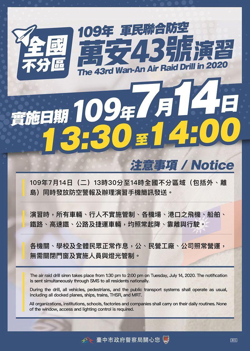 ▲萬安43號演習7月14日舉行(圖/中市警局提供)