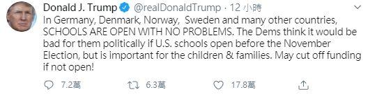 ▲儘管美國疫情仍嚴重,總統川普仍極力主張學校要在秋天復學。(圖/翻攝自推特)